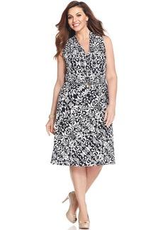Jones New York Collection Plus Size Sleeveless Printed Faux-Wrap Dress