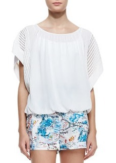 Catherine Malandrino Short-Sleeve Oversized Blouse