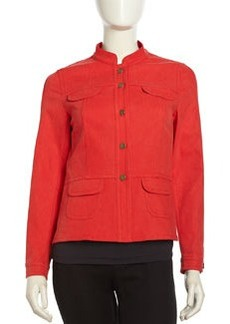 Lafayette 148 New York Stretch Denim Button-Front Jacket, Vermilion