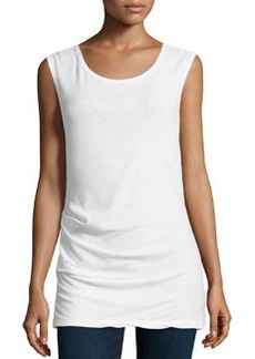 James Perse Sleeveless Tucked Stretch-Knit Top, White