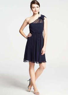 Petite Silk Georgette Flower One Shoulder Dress