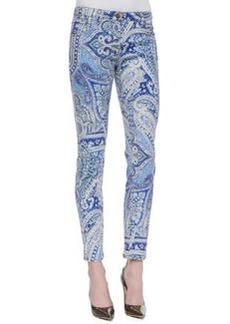Etro Five-Pocket Slim Paisley Print Jeans, Blue