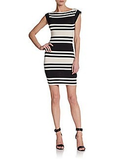 French Connection Cap-Sleeve Striped Sheath Dress