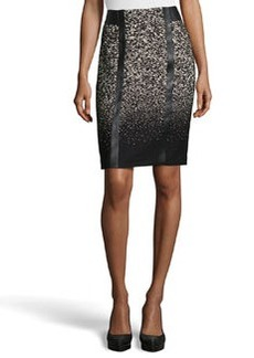 Lafayette 148 New York Tyra Faux-Leather Jacquard Tailored Skirt, Black Multi