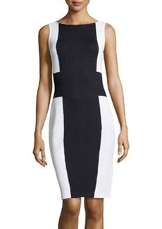 St. John Colorblock Knit Sheath Dress, Onyx/White