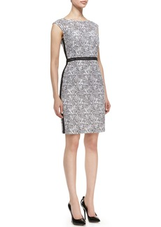 Kay Unger New York Cap-Sleeve Floral Sheath Dress, Black/White