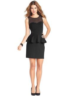 kensie Sleeveless High-Neck Peplum-Hem Dress