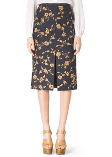 Michael Kors Embroidered Wool-Blend Skirt