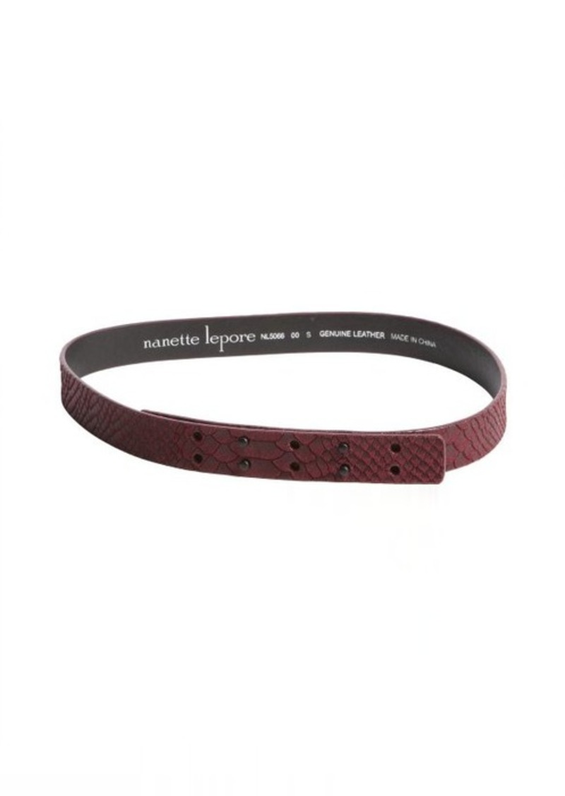 Nanette Lepore wine snake embossed leather belt