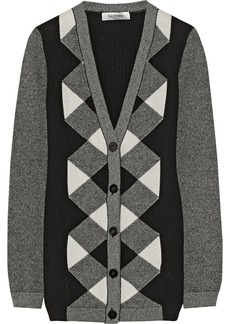 Valentino Patterned wool and cashmere-blend cardigan