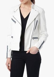 Moto Jacket in White Coated Jeather