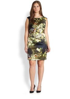 Kay Unger, Sizes 14-24 Floral-Print Sheath Dress