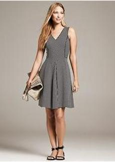 Piped Mixed-Stripe Fit-and-Flare Dress