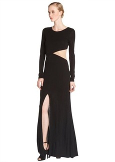 A.B.S. by Allen Schwartz black stretch mesh cutout long sleeve illusion gown