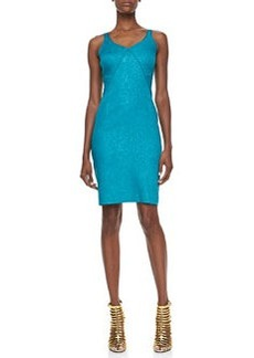 Zac Posen Snakeskin Jacquard Sleeveless V-Neck Party Dress, Green