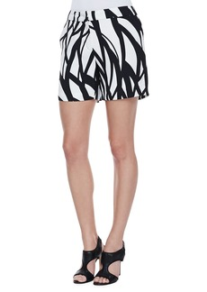 Escada Wave-Print Shorts, Black/White