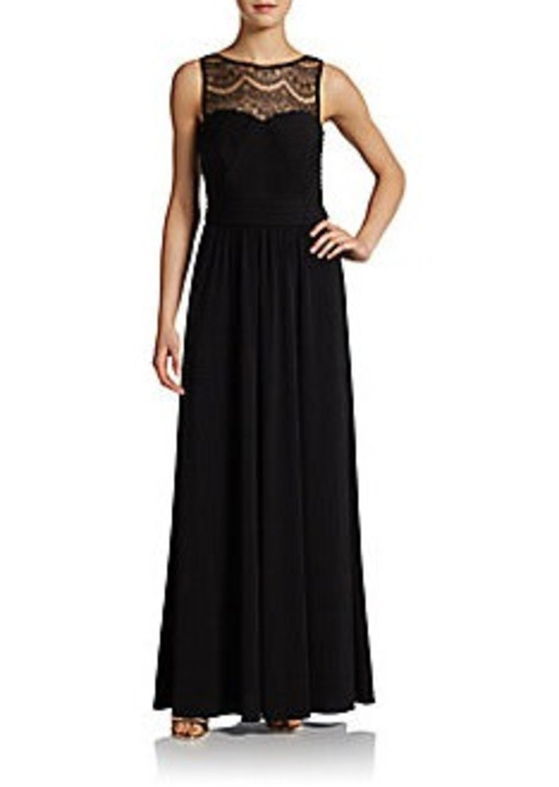 Calvin Klein Lace Illusion-Neck Gown