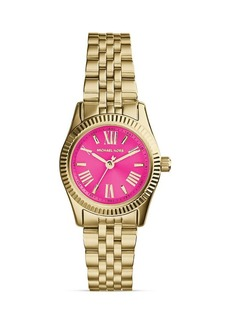 Michael Kors Mini Gold-Tone & Pink Lexington Three-Hand Watch, 26mm