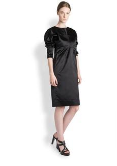 Jil Sander Crystal-Embellished Silk Satin Dress