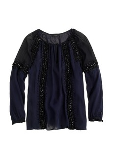Collection beaded lace peasant top