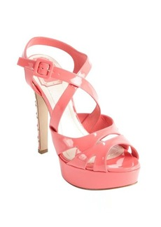 Christian Dior coral patent leather cannage platform sandals