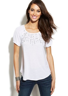 INC International Concepts Short-Sleeve Rhinestone Peasant Top