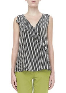 Etro Sleeveless Ruffled Dot-Print Blouse, Black