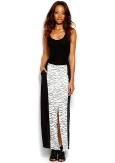 kensie Colorblocked Printed Maxi Skirt