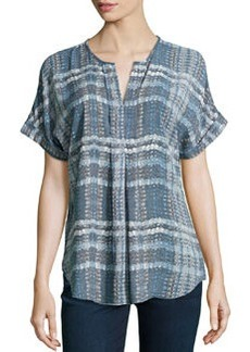 Max Studio Plaid-Print Georgette Top, Graphite