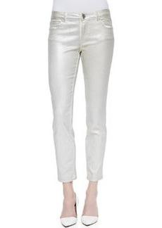 Elie Tahari Diedre Coated Silver Jeans