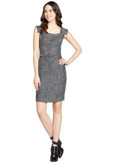 Kay Unger purple stretch tweed square cap sleeve dress