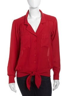 Nanette Lepore Long-Sleeve Knot-Front Silk Blouse, Red