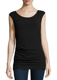 James Perse Sleeveless Tucked Stretch-Knit Top, Black