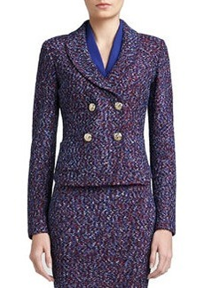 St. John Collection Looped Lash Tweed Knit Double Breasted Dip Front Jacket with Shawl Collar & Pockets