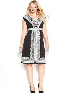 INC International Concepts Plus Size Printed V-Neck Cap-Sleeve Dress