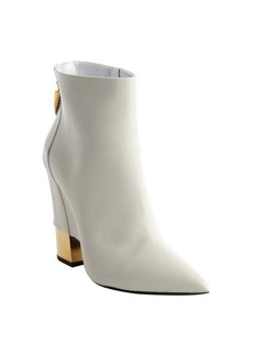 Giuseppe Zanotti white leather goldtone heel zipper detail ankle boots