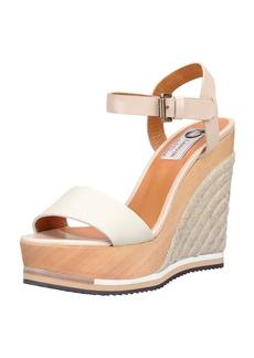 Lanvin Wooden Espadrille Wedge Sandal, White