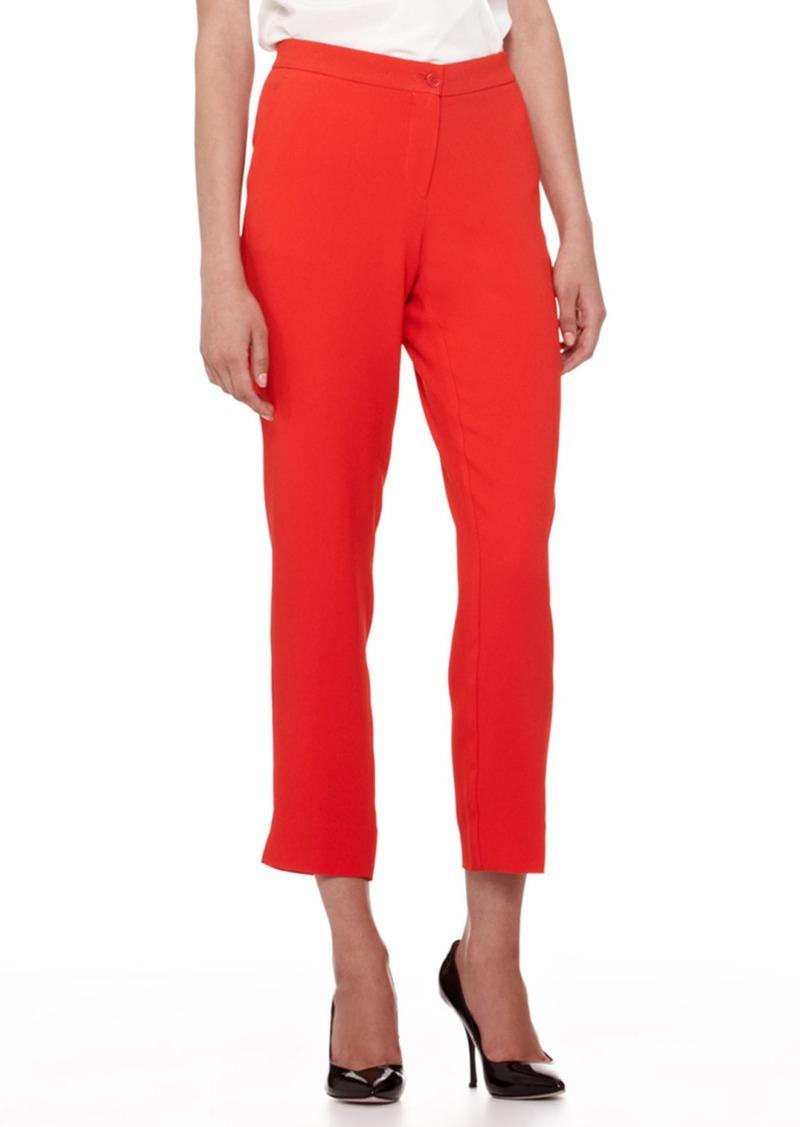 Etro Cady Straight-Leg Capri Pants, Bright Coral