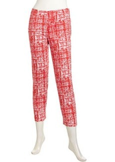 Lafayette 148 New York Graphic-Print Stretch-Knit Pants, Rosehip Multi