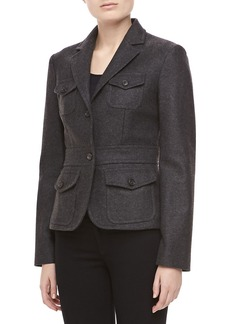 Michael Kors Felted Melange Wool Jacket, Charcoal