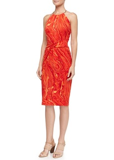 Michael Kors Marble-Print Knot-Front Ring Halter Dress, Coral