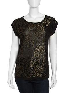 Diane von Furstenberg Cordelia Metallic Lace Contrast Top, Black/Gold