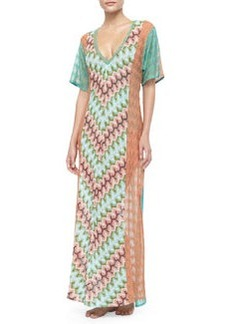 Long Patterned Coverup Dress   Long Patterned Coverup Dress