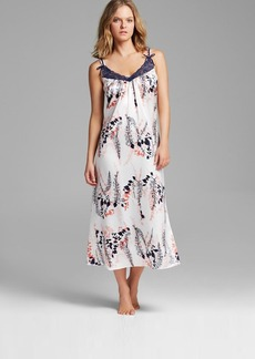 Oscar de La Renta Pink Label First Bloom Printed Charmeuse Long Gown
