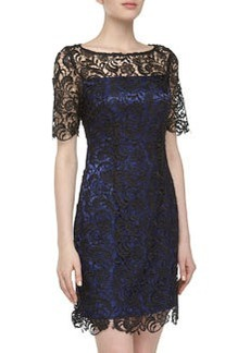 Laundry by Shelli Segal Short-Sleeve Lace Dress, Black/Blue