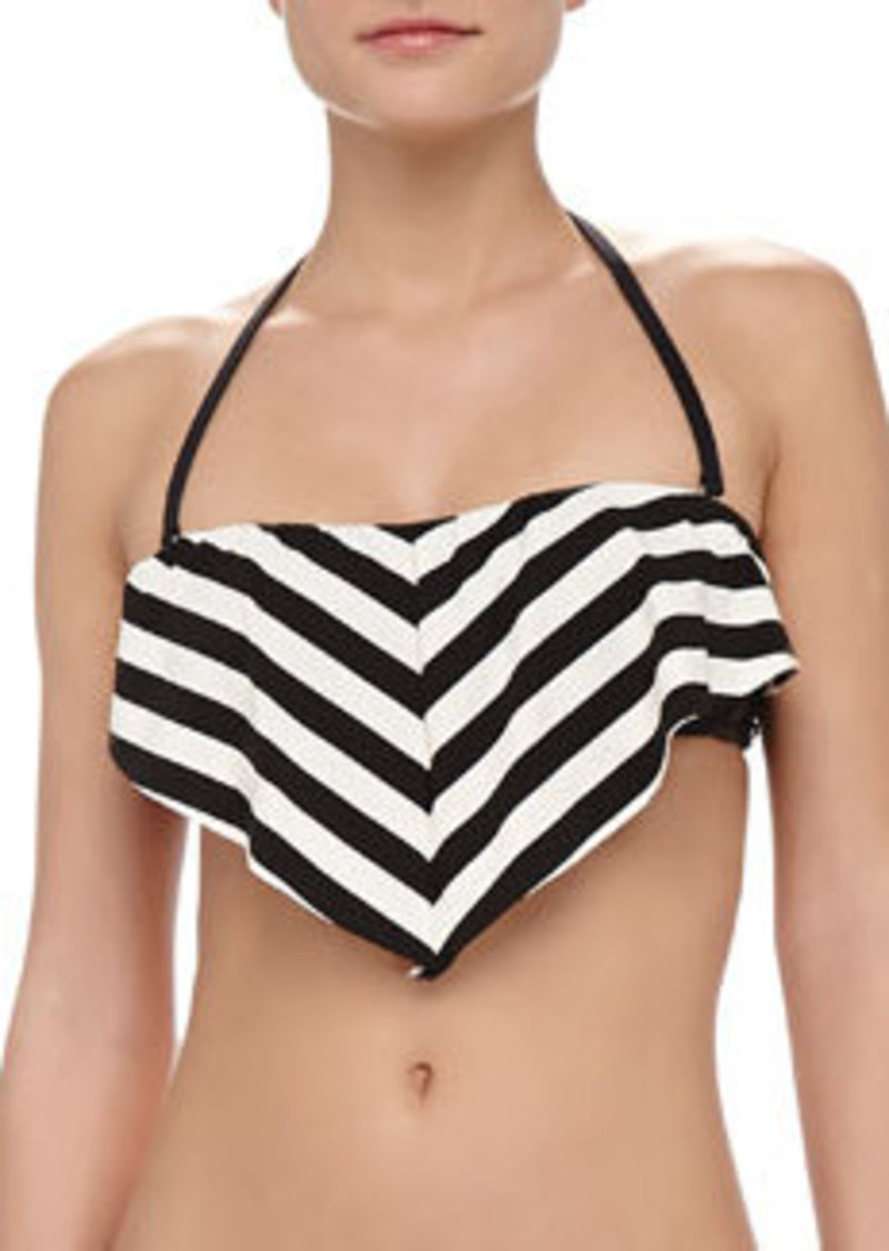 Ella Moss Swim Cabana-Stripe Ruffle Bra-Style Bikini Top, Black/White