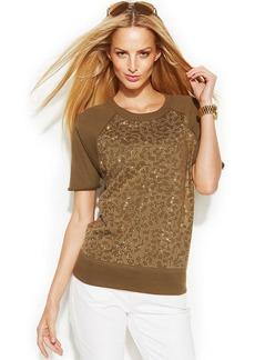 MICHAEL Michael Kors Petite Short-Sleeve Studded Sweatshirt