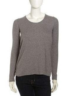Isda & Co Long-Sleeve Drape-Back Tee, Heather Gray