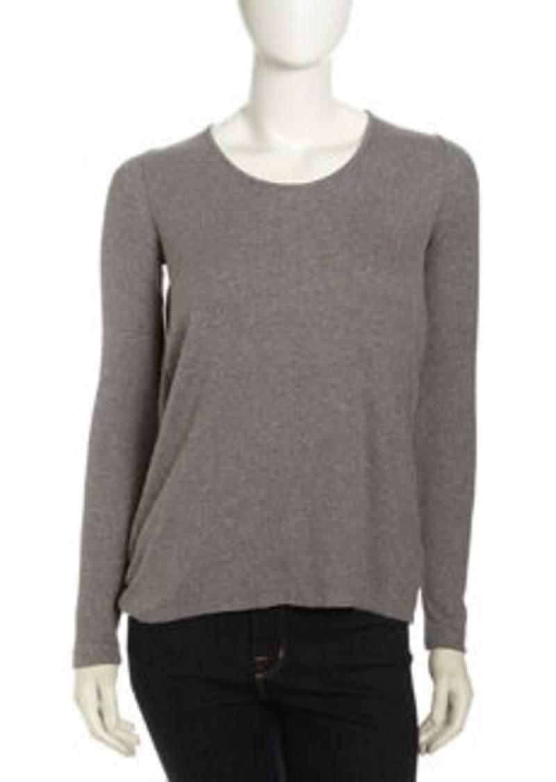 Isda & Co Long-Sleeve Drape-Back Tee, Heather Gray