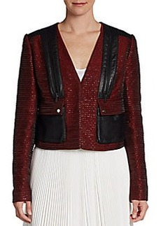 Jason Wu Cropped Leather-Trimmed Jacket
